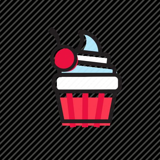 bakery, cake, celebration, cherry, cupcake, party, sweet icon