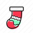 celebration, decoration, foot, holiday, santa, sock, xmas icon