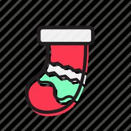 celebration, decoration, foot, holiday, santa, sock, xmas icon