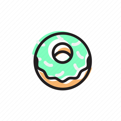 bakery, cake, cream, donut, food, mint, sweet icon