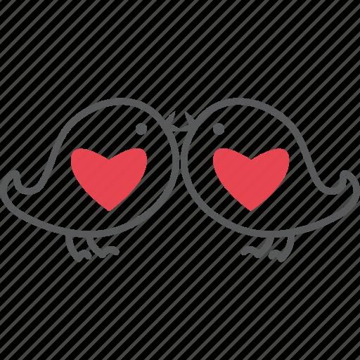 birds, happy, kiss, love, loving birds, red, valentine icon