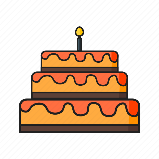 birthday, cake, candle, celebration, food, party icon