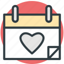 calendar, heart calendar, valentine day, wedding day, yearbook icon