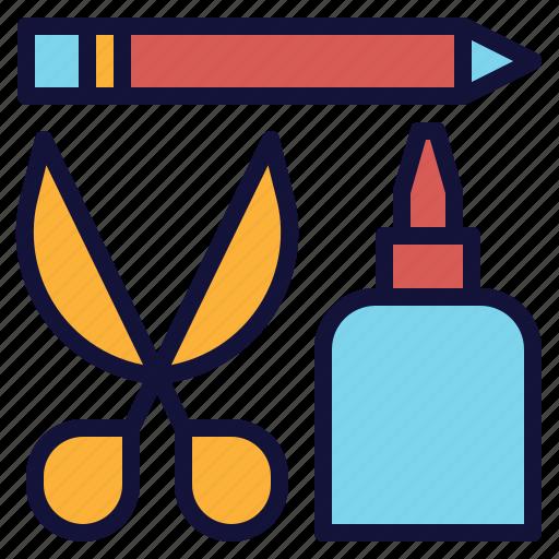 craft, glue, pencil, scissors, stationery, tool icon