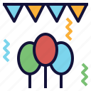 balloons, celebration, decoration, flags, party icon