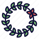 crown, decoration, floral, leaf, vine, wreath icon