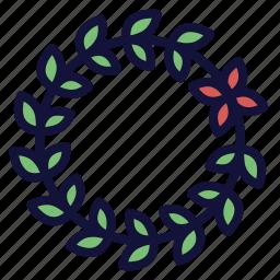 crown, decoration, floral, leaf, vine, wreath icon