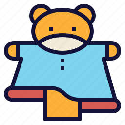 bear, doll, hand, puppet, show, sock icon