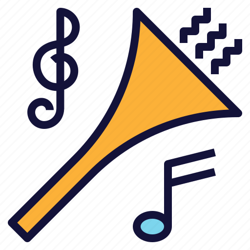 celebration, horn, marching, music, song icon