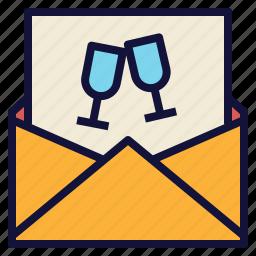 card, invitation, invite, letter, party icon