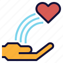 blow, charity, hand, heart, love, rainbow, send icon