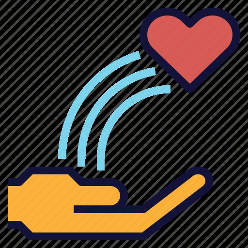 blow, charity, hand, heart, love, rainbow, send icon