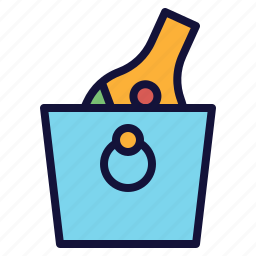 bottle, bucket, chill, ice, wine icon