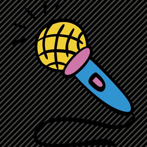 audio, mic, microphone, record, recording, scribble icon