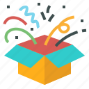 box, boxing, day, gift, open, surprise icon