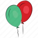 birthday balloons, colored balloons, party, balloons, event, party decoration icon