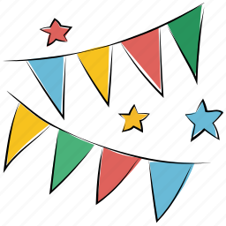 buntings, garland, party decoration, party flags, pennants, small flags icon