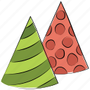 new year, birthday hat, party hats, birthday, party caps, party decoration, celebration icon