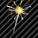 enjoyment, firework stick, firework, fun, spark, happiness icon