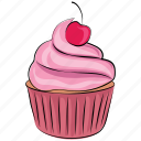 bakery food, dessert, fairy cake, cupcake, muffin, birthday cupcake icon