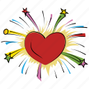 enjoyment, firework, fun, happiness, heart firework, spark icon
