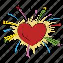 enjoyment, heart firework, firework, fun, spark, happiness icon