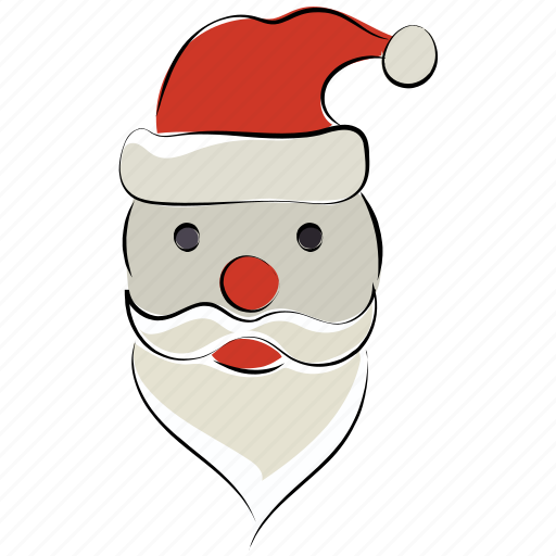 christmas, merry christmas, santa, santa caricature, santa face icon
