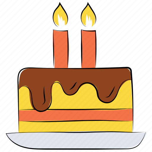 birthday cake, cake, cake with candles, candles, dessert, sweet icon