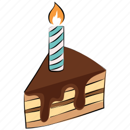 cake piece, cake with candle, candle, dessert, sweet, sweet food icon