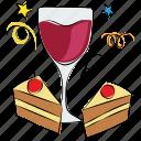 alcohol, beverage, cake pieces, celebration, drink, glass