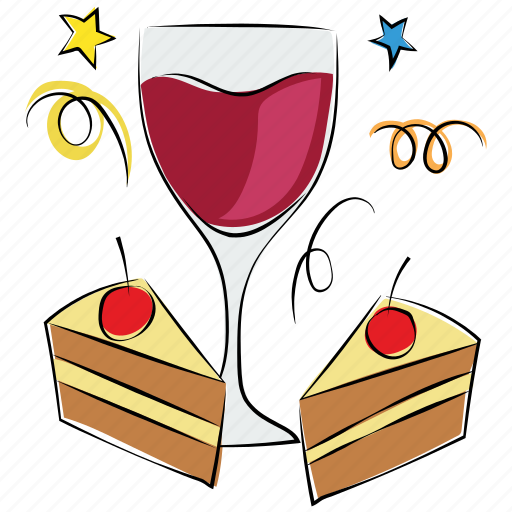 alcohol, beverage, cake pieces, celebration, drink, glass icon