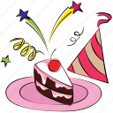 anniversary, birthday, birthday party, cake, cake piece, cheery, party hat icon