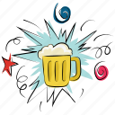 ale, beer, beverage, chilled beer, drink, mug, party