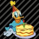 birthday cake, donald, birthday, duck, happy christmas, cartoon icon