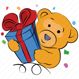 bear, christmas, gift, gift with bear, present, teddy, valentine icon