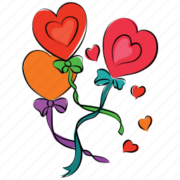 balloon, birthday, bow balloons, greeting, heart, ribbon balloons icon