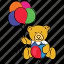 teddy bear, bear, birthday, happy christmas, party, celebration icon