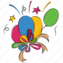 confetti, balloons, anniversary, happiness, decoration balloons icon