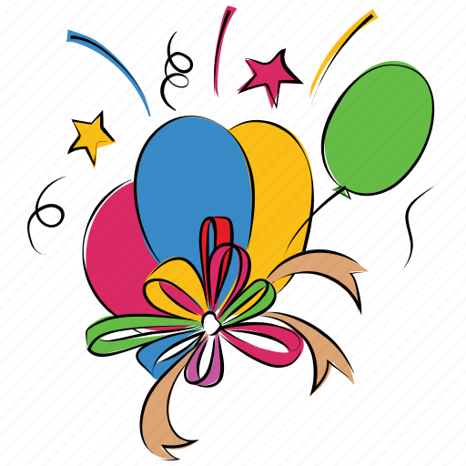 anniversary, balloons, confetti, decoration balloons, happiness icon