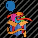 balloon, box with ribbon, cardboard, gift box, open box, present