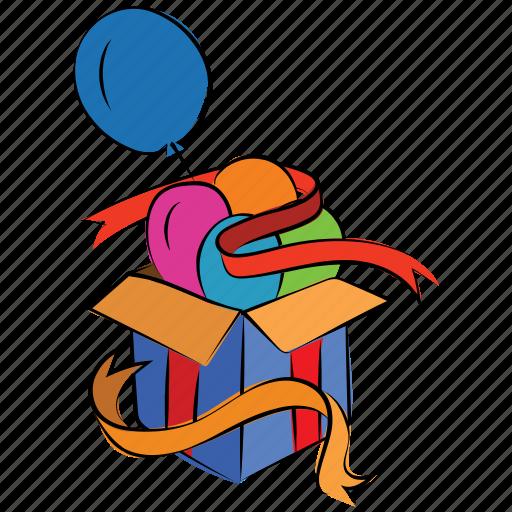 balloon, box with ribbon, cardboard, gift box, open box, present icon