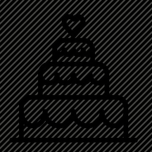 cake, heart, ios, layered, love, tiers, wedding icon