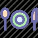 flatware, fork, knife, plate, spoon, utensil