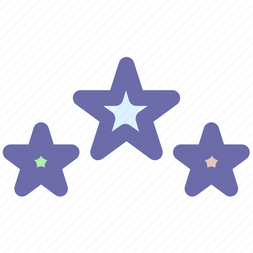 badges, christmas, party, rating, stars, three star icon