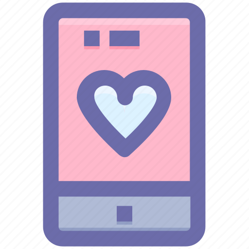 device, heart, love, mobile, phone icon