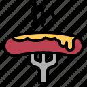 food, fork, hotdog, sausage, wiener icon