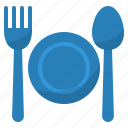 cutlery, food, fork, plate, spoon icon