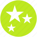 badges, christmas, decoration, party, rating, stars, three star icon