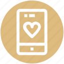 device, heart, love, mobile, phone, smartphone icon