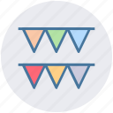 buntings, garland, party decoration, party flag, pennants, small flag icon